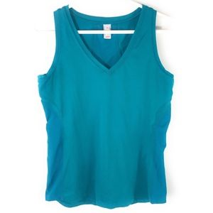 Lucy Electric Blue V-Neck Tank with Mesh Insets